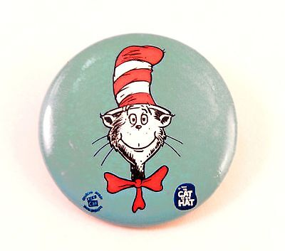 """Pinback Button Dr Seuss Red & White Cat in the Hat 1.5"""" Pin Back PB6000"""