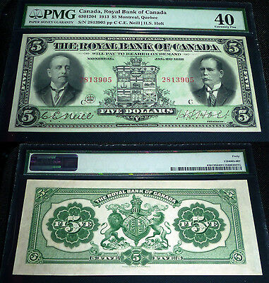 $5 Royal Bank 1913 , PMG GRADED 40  EF (10 th highest grade out of  36 notes)