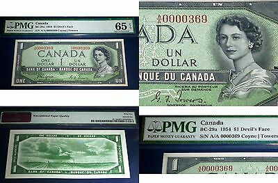 Low Serial number 369 . DEVILS FACE Bank of Canada 1954 $1 , PMG 65 GEM UNC