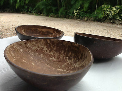 COCONUT CUP BOWL Handcrafted Set of 3 NEW - GREAT GIFT