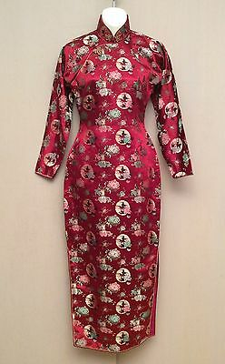 Vintage 1950's Qipao Cheong-sam Dress Fine Handmade Silk Collectable XXS 0 Mint