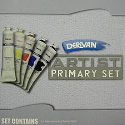 Derivan Artists Primary Set Acrylic Paint 5 x 75ml