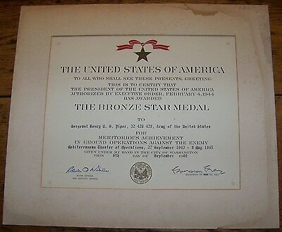 Wwii Us Army Bronze Star Medal Sergeant Henry Piper Mto Mediterranean Award