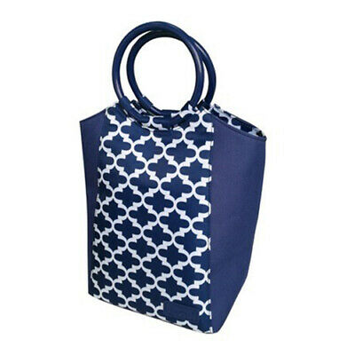 SACHI Go Fresh Insulated Lunch Tote Cooler Bag Stylish Handbag Moroccan Navy!