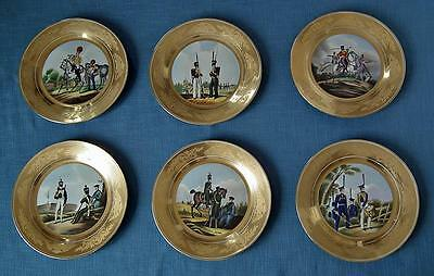 Set Of 6 Porcelain Military Plates With hand painted Imperial Russian Soldiers
