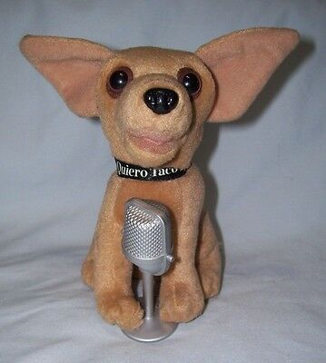 "6"" tall Yo Quiero Taco Bell singing plush Chihuahua Dog ""Chances Are"" Microphone"