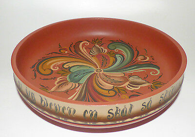 Vintage Rosemaling Norway Folk Art Hand Carved Wood Bowl Hand Painted 10 1/2''