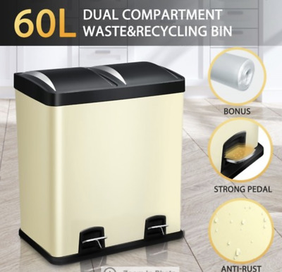 NEW 60L garbage bin dual compartment stainless steel odour seal  2 inner bins