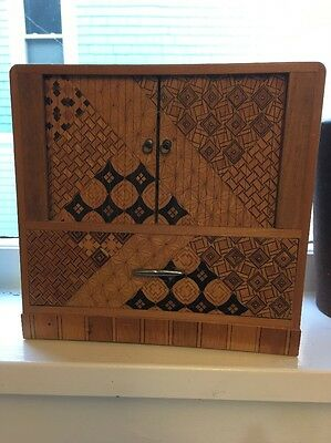 Antique  Vintage Japanese Marquetry Jewelry Chest Box 1940's