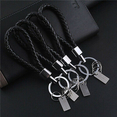 1pc New Creative Black Rope Car Keychain Key Ring Hand Made Auto Accessories ssk