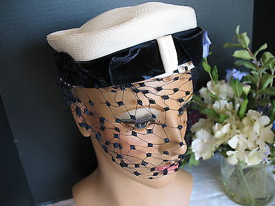 SEDUCTIVE Netting on Cream Vintage Hat Deep Navy Blue Velvet Ribbon