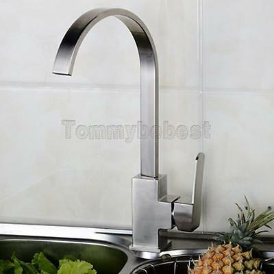 Swan Neck Kitchen Sink Mixer Tap Single Lever Swivel Spout Chrome Brass Square