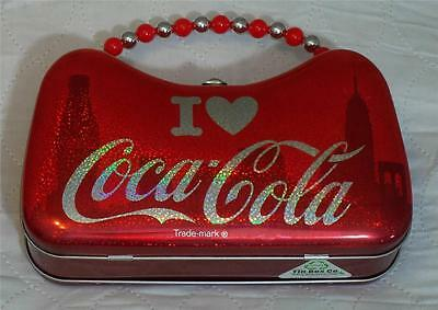 I love Coca-Cola Lunch Box Bead Handle Red Tin Metal Designer Box