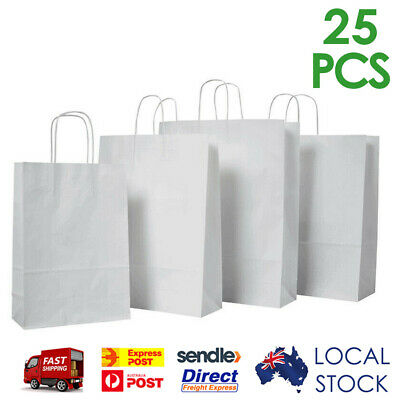 50 x White Paper Carry Bags - with Handle / Shopping Bags / Gift Bags