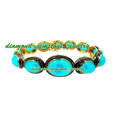 56.75cts-ROSE-CUT-DIAMOND-TURQUOISE-VICTORIAN-LOOK-WEDDING-SILVER-BRACELET-x-1Ps