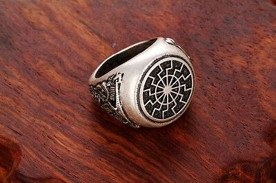 Valknut Odin 's slavic Symbol of Norse Viking Warriors black sun silver ring