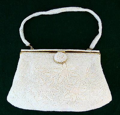 VTG Pearl White Glass Purse Hand Bag Bridal Japan Seed Glass Beaded Gold Frame
