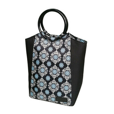 SACHI Go Fresh Insulated Lunch Tote Cooler Bag Stylish Handbag Black Medallion!