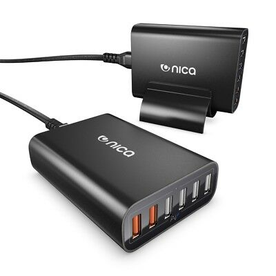 nica 6 Port USB Ladegerät Charger Quick Charge 2.0 Multi-Port Charging Station