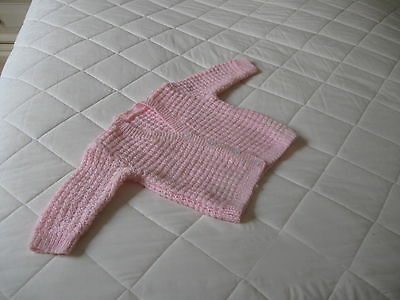 Baby  Matinee Jacket  Colour Pink  Soft Wool Machine Washable Hand Knitted