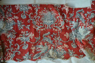 Antique French pure cotton printed toile, dark red and grey valence, doves, urns
