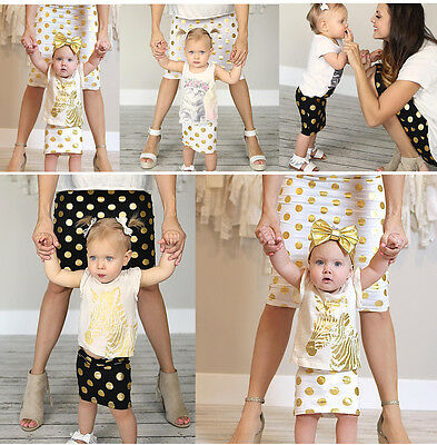 Family Style Mother Baby Matching mommy and me outfits spolka dot prints T-Shirt