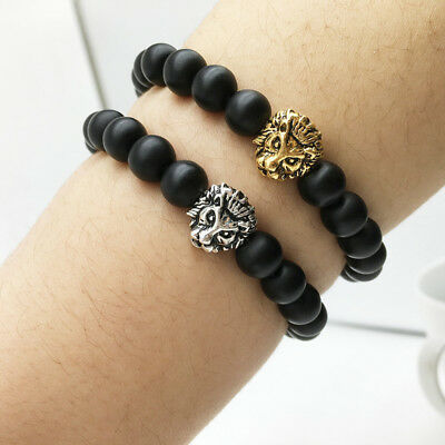 Fashion Black Frosted Stone Gold&Silver Lion Beaded Cuff Charm Bangle Bracelet