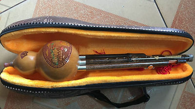 Chinese Free Reed Gourd&Bamboo Flute Yunnan Hulusi Instrument,Have Deluxe box
