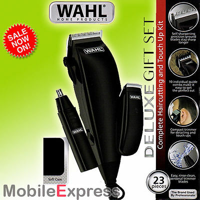 WAHL Deluxe Men's Clippers - Gift Set. Complete Home Hair Cutting & Grooming Kit