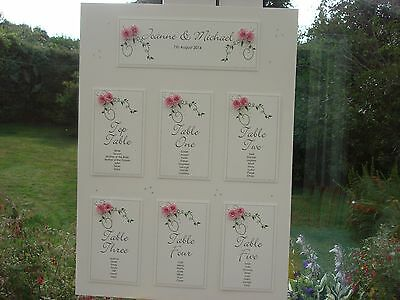 A2 Handmade Personalised Rose Wedding Table Seating Plan - up to 9 tables