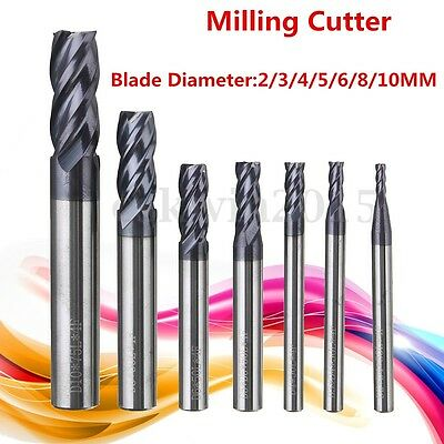 2-10MM Solid Carbide Straight Shank 4Flute End Mill CNC Milling Cutter Drill Bit