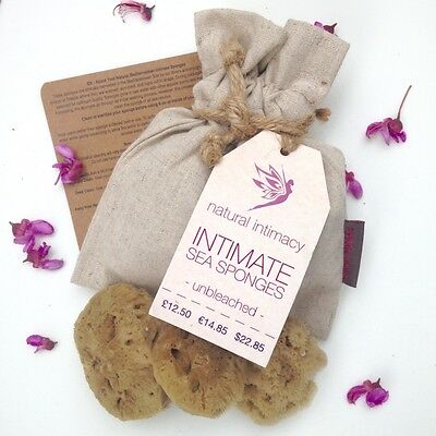 Intimate Sea Sponges - UNBLEACHED - 3 x Medium - in Hemp Bag