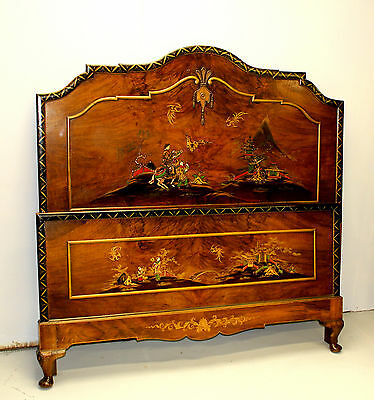 A Superb Chinoiserie Decorated And Burr Walnut Double Bed By Maple And Co