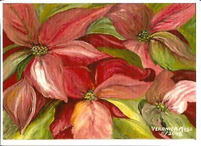 Pointsettia Christmas Flower ~ signed aceo original artist reproduction ~ Muse ~