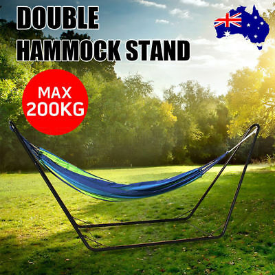 Double Hammock With Steel frame Stand Swinging Camping Outdoor Blue Stripe AU