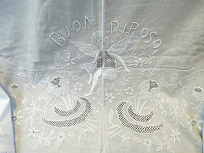 """Antique Sheet White Embroidered Cotton 105"""" x 110"""" Angel Italian Hand Embroidery"""
