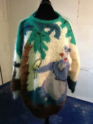 One of a Kind Mohair Sweater with Animal Motif