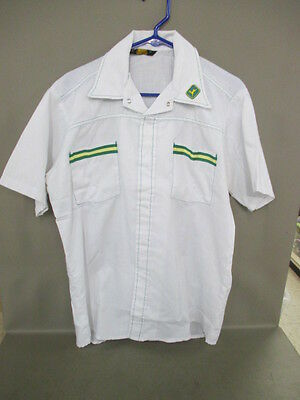 Vtg 80s White John Deere Dealer Protexall Work Short Sleeve Medium Chest 46""