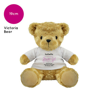 Personalised Name Flower Girl Victoria Teddy Bear Wedding Favour Thank You Gift