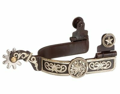 Tough-1 Spurs Mens Kelly Silver Star Engraved Overlay Brown 78-9720