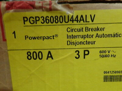 Square D PGP36080U44ALV  3p 800a 600v Circuit Breaker   *NEW in Box*