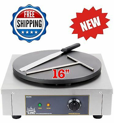 16-Inch Heavy-Duty Commercial Stainless Steel Electric Crepe Pan Maker