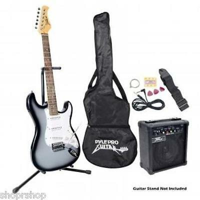 Pyle PEGKT15GS Beginner Electric Guitar Package- Grey Silver NEW