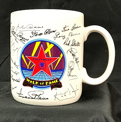 Vintage Mug, Hollywood Walk of Fame with Signatures of Stars, Made by Papel