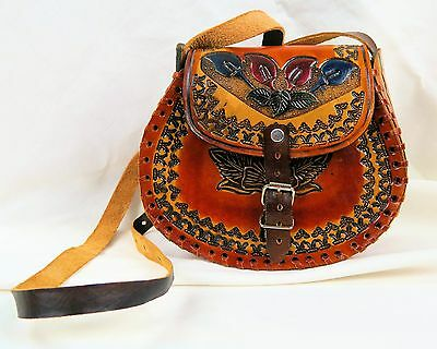 Authentic Hand Tooled Leather Small Ladies/Girl's Purse Made in Mexico