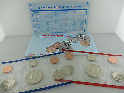 1994 United States Us Mint Uncirculated Coin P & D Mint Set