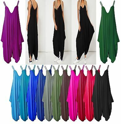 New Womens Ladies Cami Strappy Lagenlook Baggy Harem Jumpsuit Playsuit Top Dress