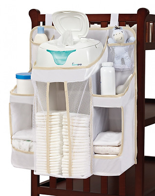 hiccapop Nursery Organizer and Diaper Caddy for Baby Essentials, White