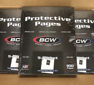 "Box of 100 BCW 9-Pocket Pages Holds up to nine 2½"" x 3½"" cards (#728)"