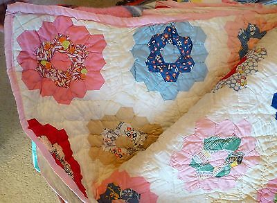 "Antique Hand Stitched Cotton Quilt 85""x66"" 1930-40s Grandmothers Flower Garden"